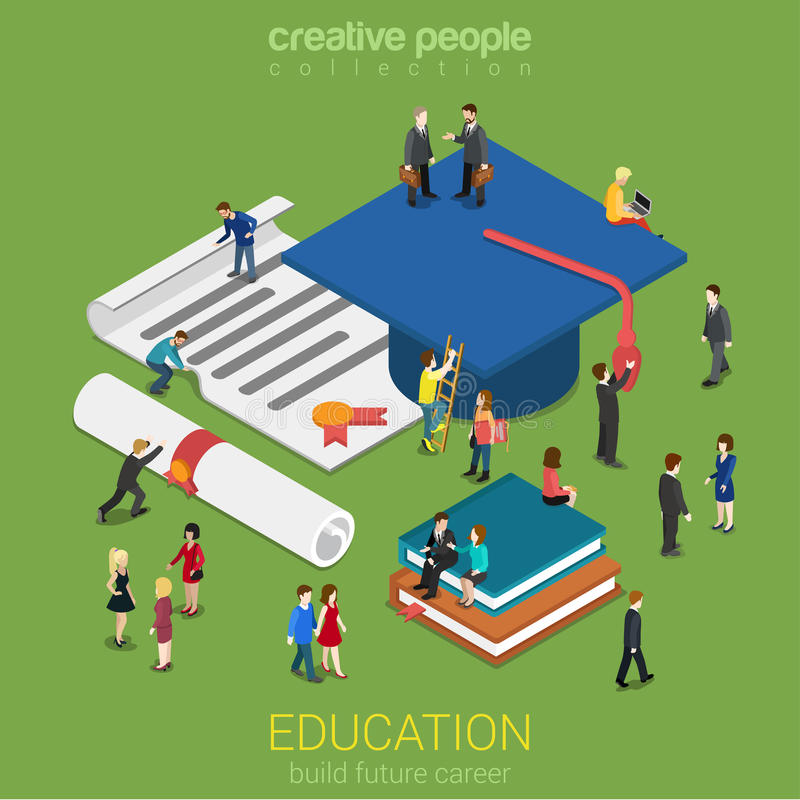 Education micro people flat 3d web isometric infographic concept. Education graduation license certificate flat 3d web isometric infographic concept vector stock illustration