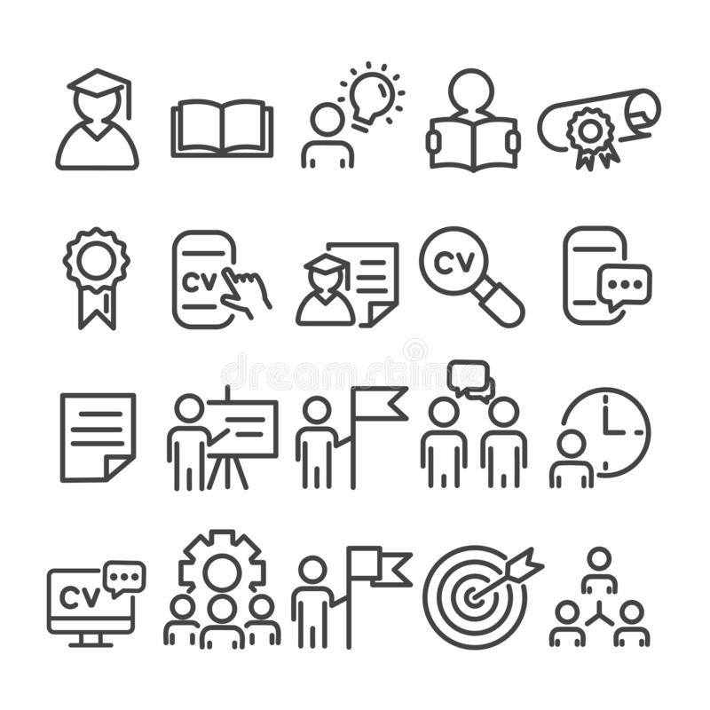 Education minimal icons set isolated. Collection of school and university. Looking for job concept. Modern outline on white background royalty free illustration