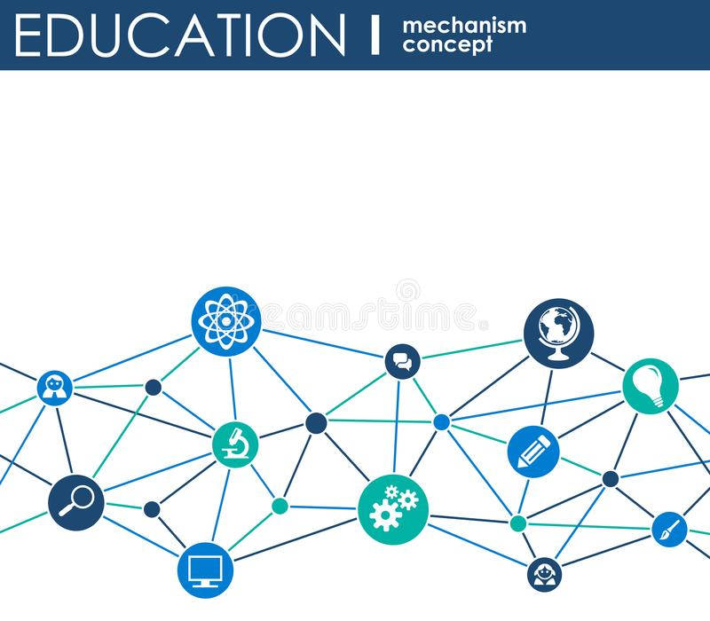 Education Network Hexagon Abstract Background With Lines Polygons