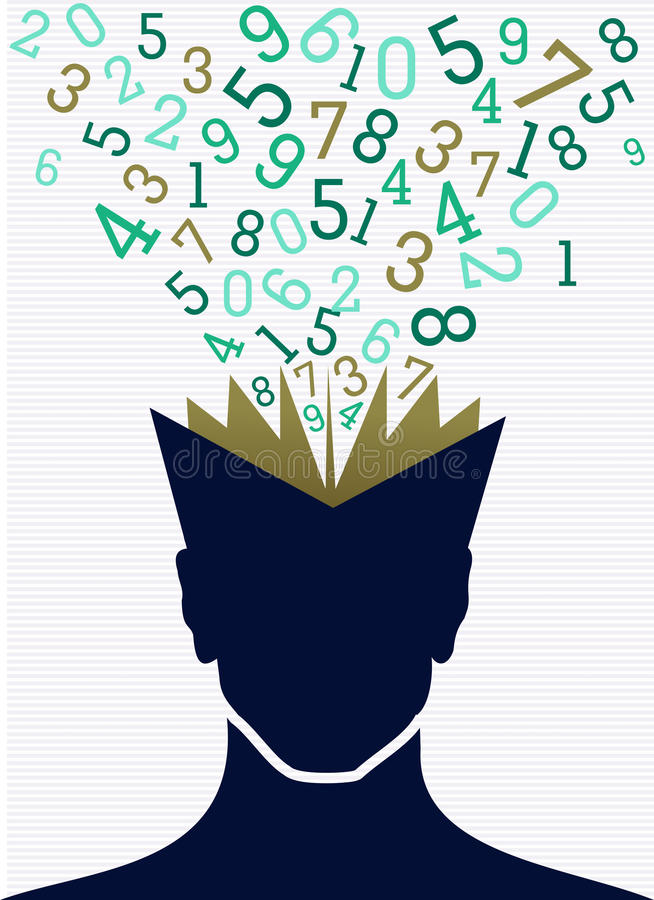 Education numbers human head book back to school c royalty free illustration