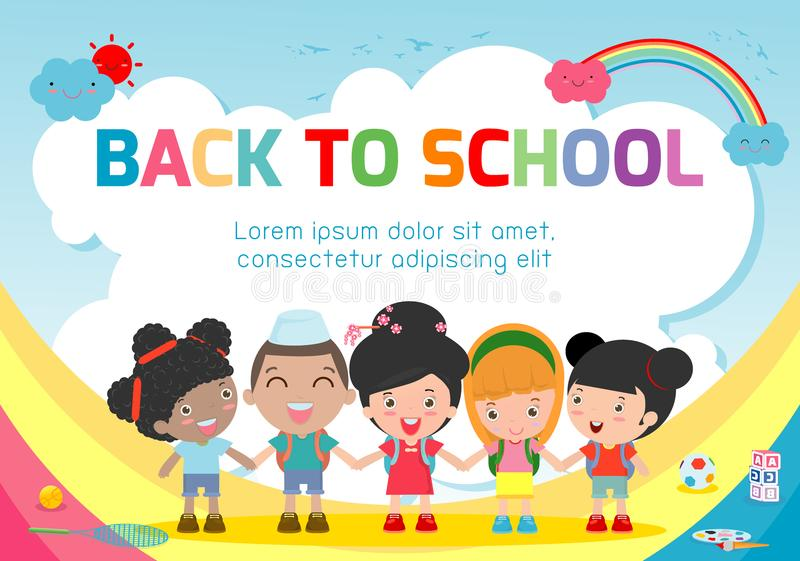 Education object on back to school background, back to school, Kids holding hands , education concept, Template. For advertising brochure, your text ,Vector stock illustration