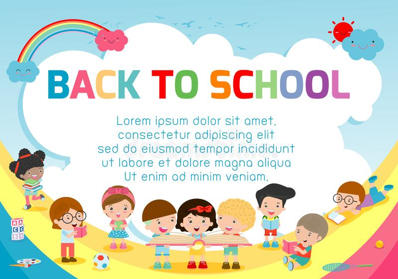 Education object on back to school background, back to school, Kids jumping, education concept, Template for advertising brochure. Education object on back to vector illustration