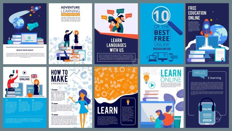 Education online covers. Posters or ads flyer template with educational concept teachers fro internet training courses. Vector design. Language course poster ad stock illustration