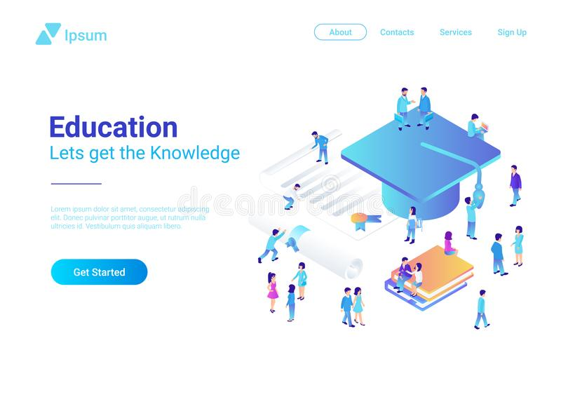 Education Online Isometric vector illustration con vector illustration