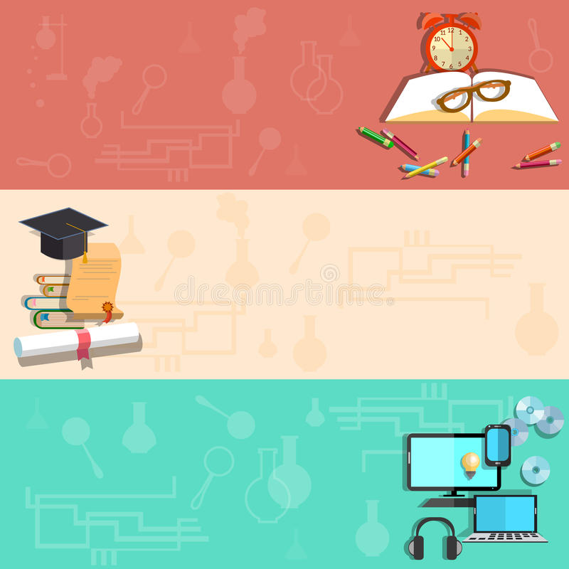 Education, online learning, school subjects, vector banners stock illustration