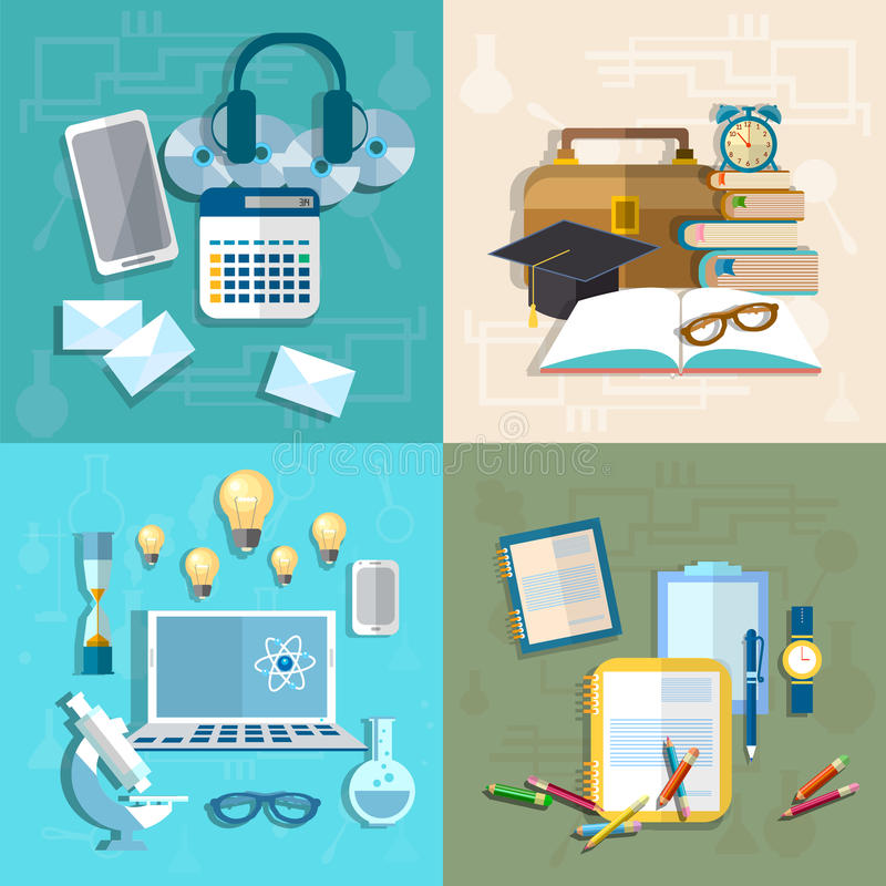 Education, online learning, student, research, knowledge, books vector illustration