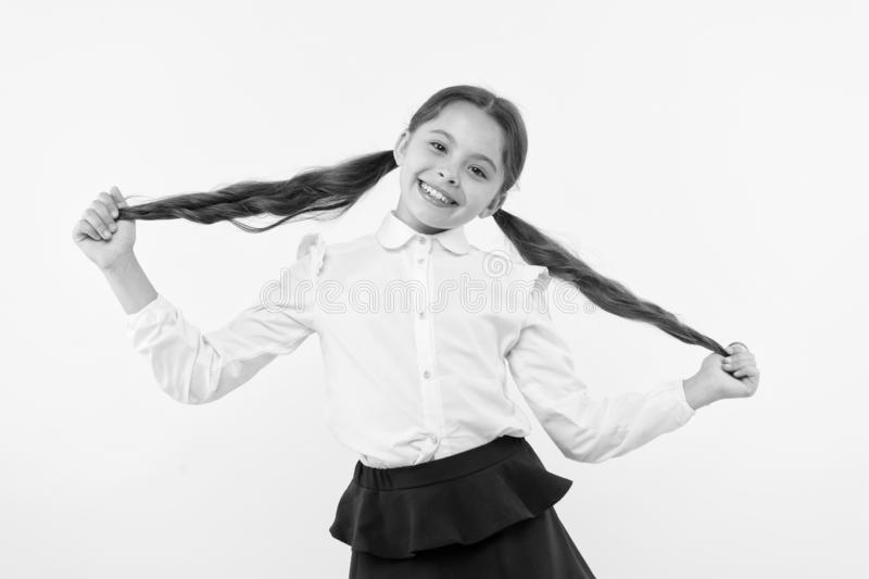 Education online. small girl child. private teaching. happy little girl in school uniform. Back to school. Childhood royalty free stock photos