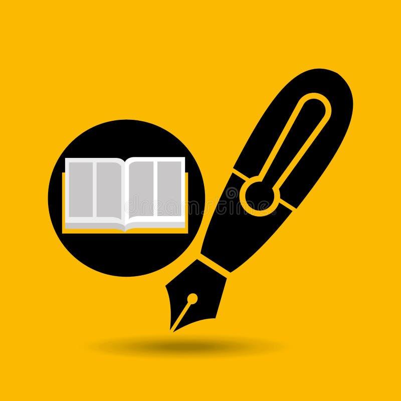 Education opened book pen writing. Vector illustration eps 10 stock illustration
