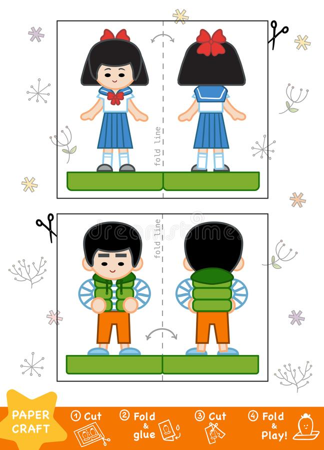 Education Paper Crafts for children, Asian boy and Japanese girl royalty free illustration