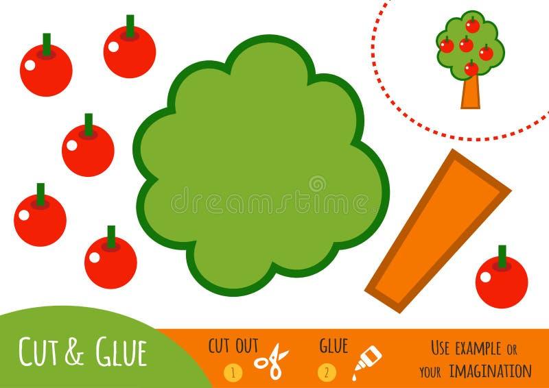 Education paper game for children, Apple tree vector illustration