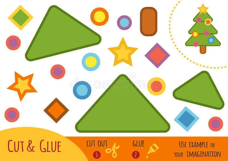 Education paper game for children, Christmas tree vector illustration