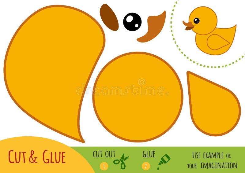 Education paper game for children, Duck stock illustration
