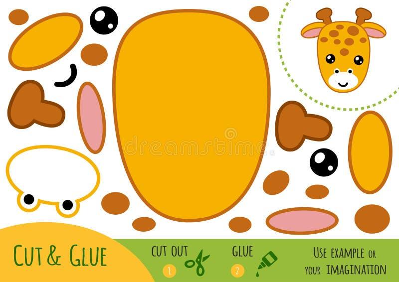 Education paper game for children, Giraffe vector illustration