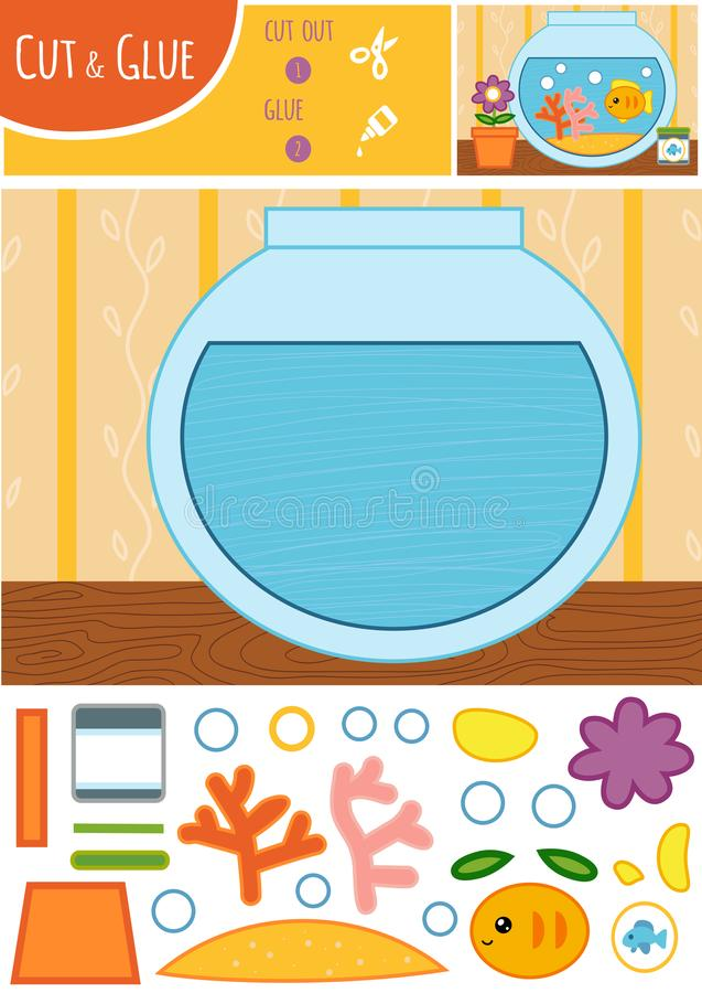 Education paper game for children, Goldfish in a bowl. Use scissors and glue to create the image stock illustration