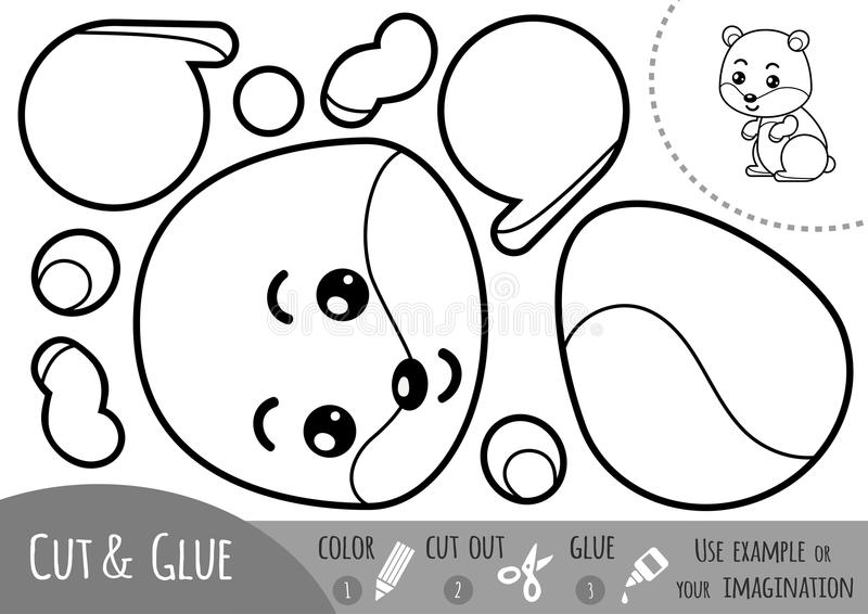 Education paper game for children, Hamster. Use scissors and glue to create the image stock illustration