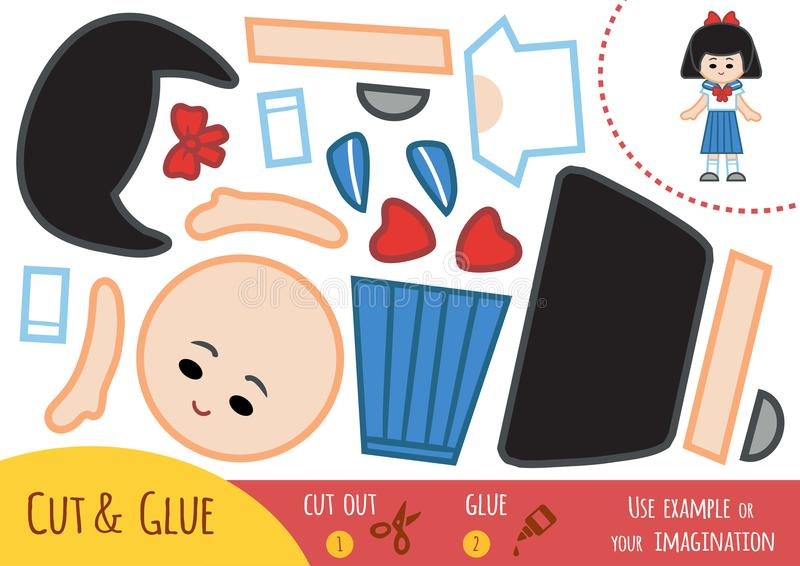 Education paper game for children, Japanese schoolgirl. Use scissors and glue to create the image stock illustration