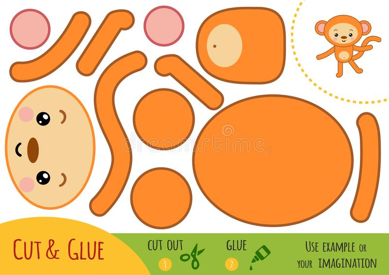 Education paper game for children, Monkey vector illustration