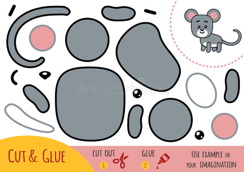 Education paper game for children, Mouse. Use scissors and glue to create the image stock illustration