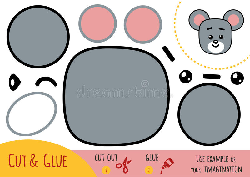 Education paper game for children, Mouse. Use scissors and glue to create the image royalty free illustration