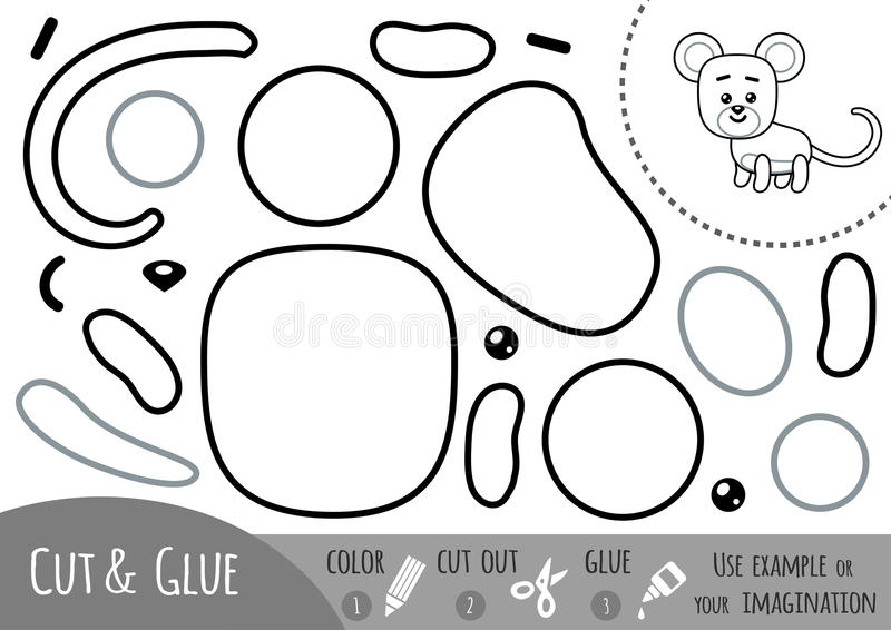 Education paper game for children, Mouse. Use scissors and glue to create the image vector illustration