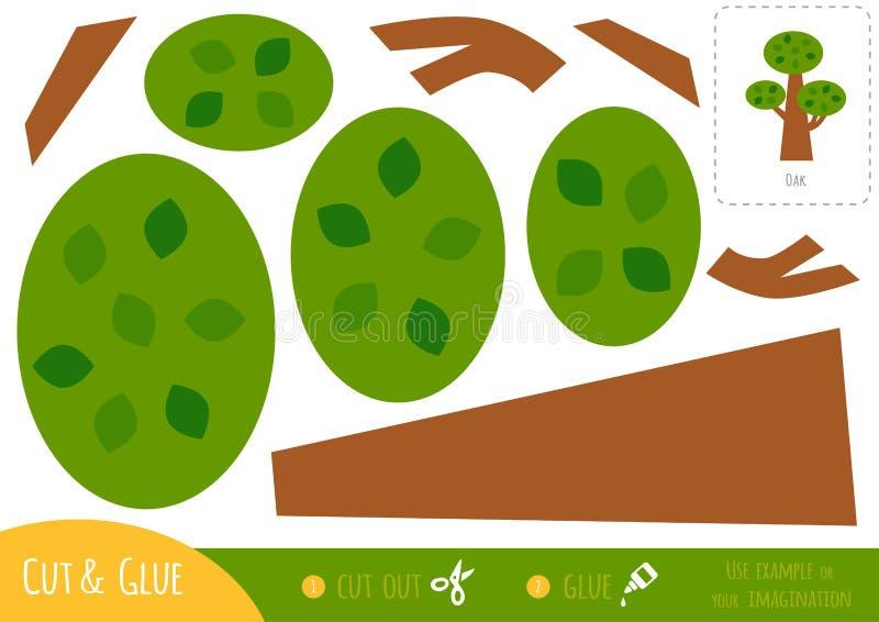 Education paper game for children, Oak stock illustration