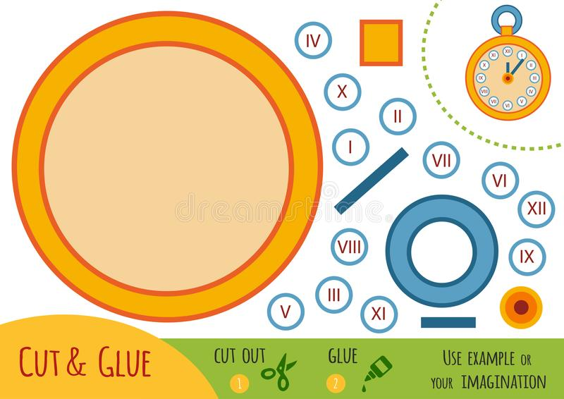 Education paper game for children, Pocket watch. Use scissors and glue to create the image stock illustration