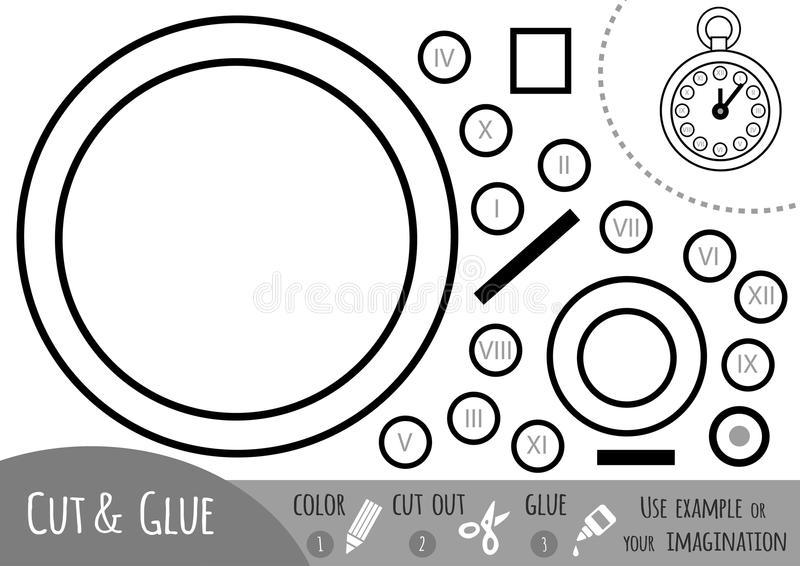 Education paper game for children, Pocket watch. Use scissors and glue to create the image vector illustration