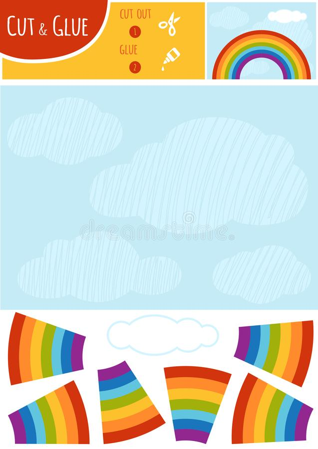 Education paper game for children, Rainbow and clouds in the blu stock illustration
