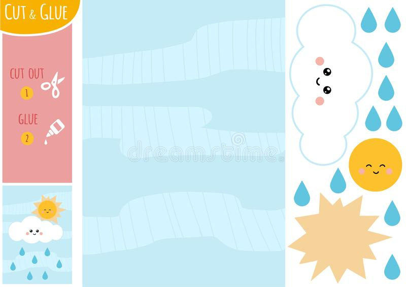 Education paper game for children, Sun with cloud and raindrops vector illustration