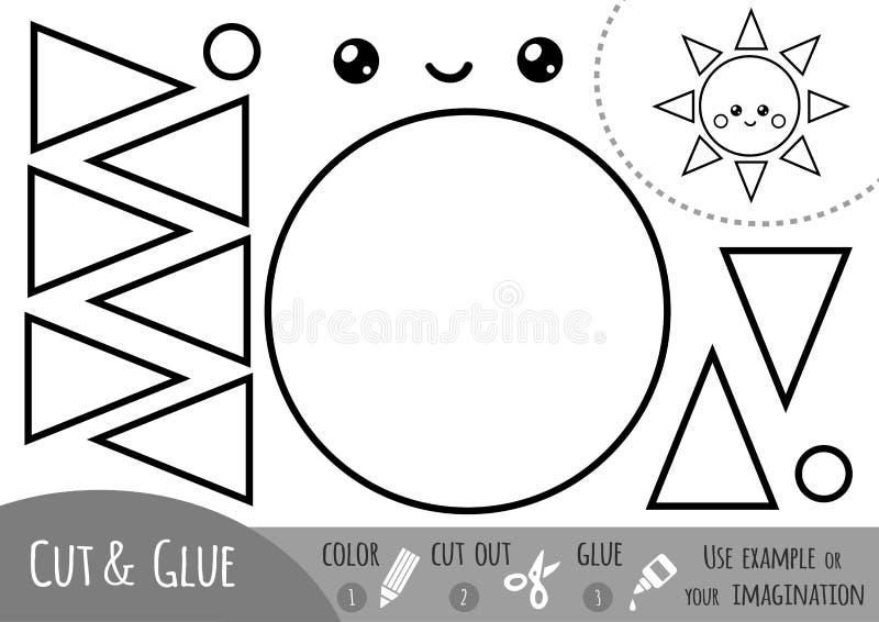 Education paper game for children, Sun royalty free illustration
