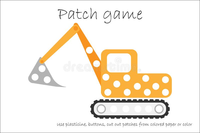 Education Patch game excavator for children to develop motor skills, use plasticine patches, buttons, colored paper or color the. Page, kids preschool activity royalty free illustration