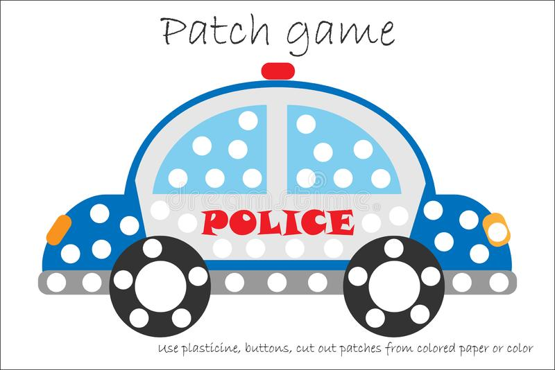 Education Patch game police car for children to develop motor skills, use plasticine patches, buttons, colored paper or color the royalty free illustration