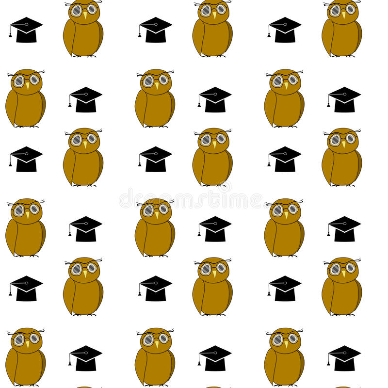 Education pattern with owl and hat. Intelligent animal bachelor, graduation and education university. Vector illustration stock illustration