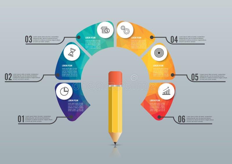 Education pencil option Infographics design template. stock illustration