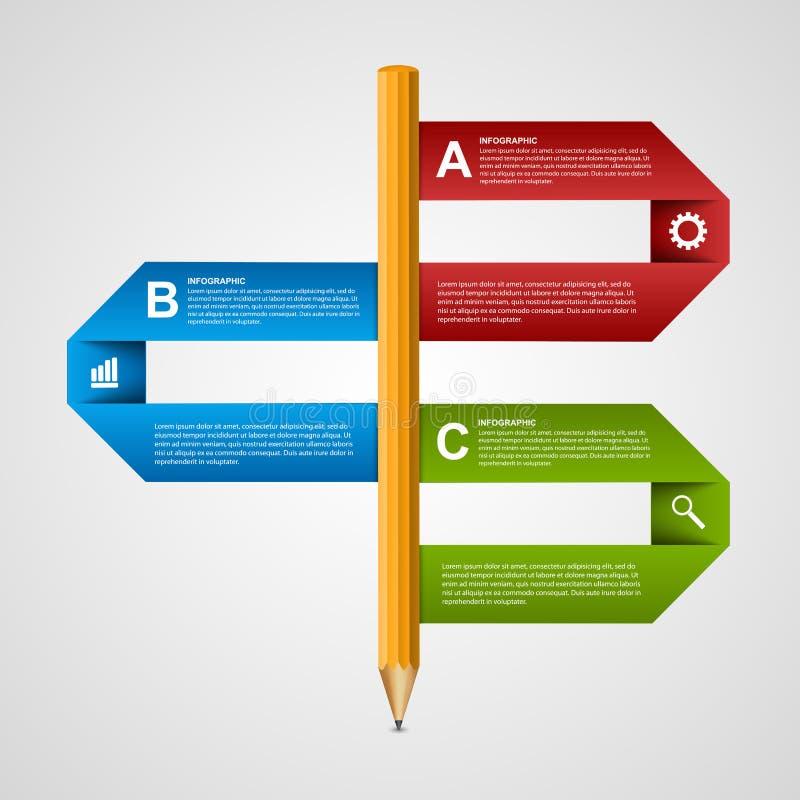 Education pencil option Infographics design template. Design element. vector illustration