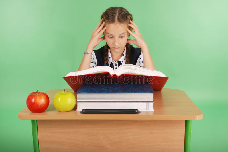 Education, people, children and school concept - young school girl stock photo