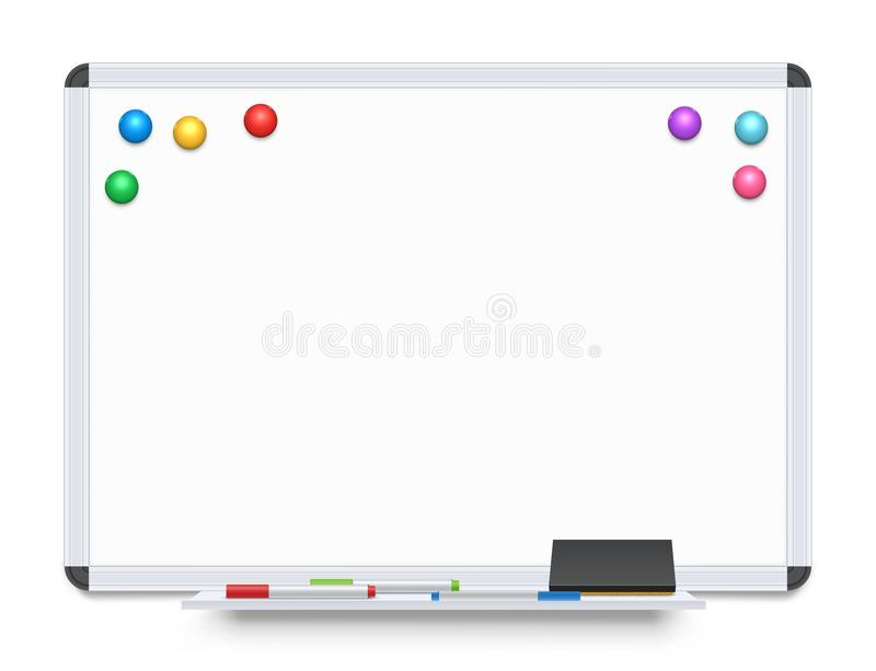 Education or Presentation Whiteboard. Isolated on White Background. White Board Vector Template stock illustration
