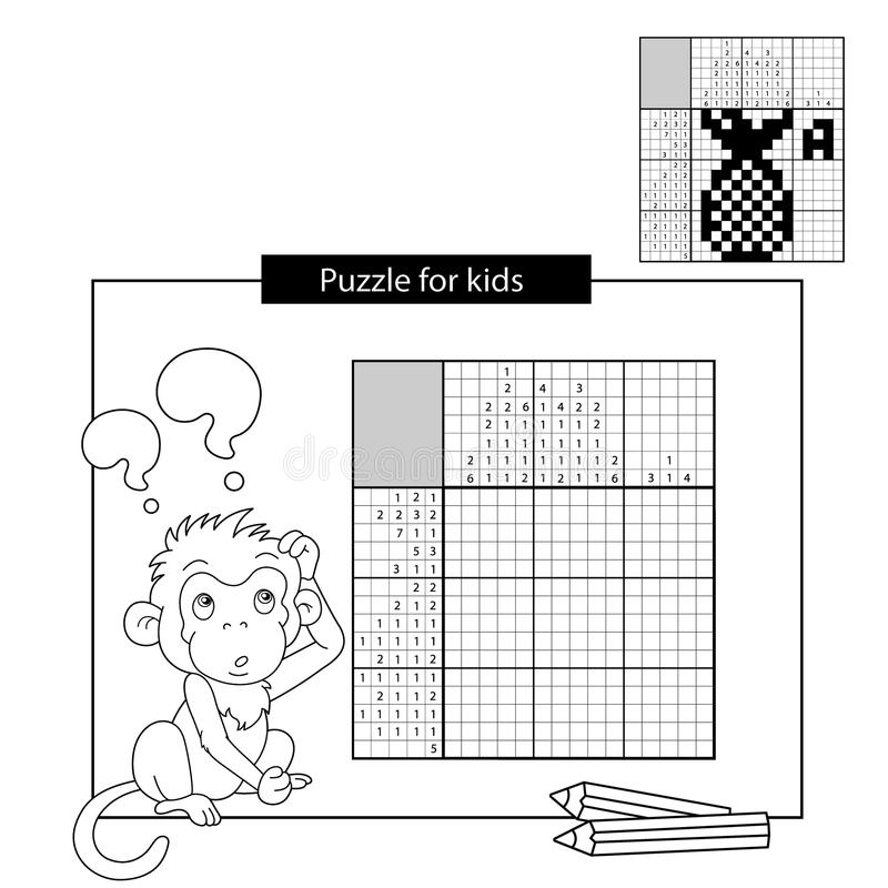 Education Puzzle Game for school Children. Ananas. Black and white japanese crossword with answer. Nonogram with answer. Graphic c stock illustration