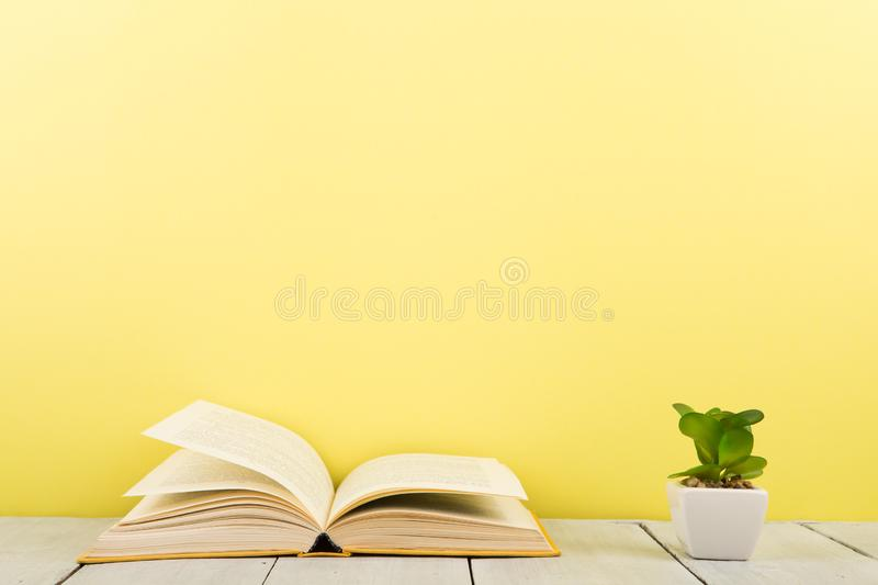 education and reading concept - open book on wooden table, color background royalty free stock images