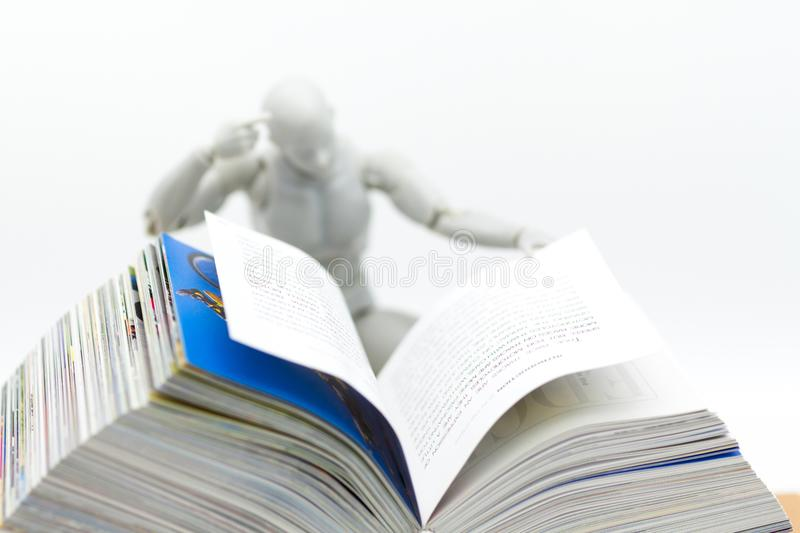 Education: Robot model reading book. Image use for new technology to learn, education concept royalty free stock photo