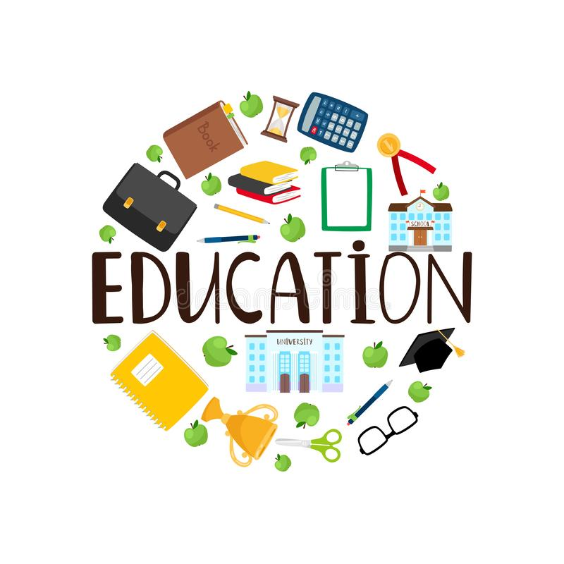 Education round banner with stationery vector illustration
