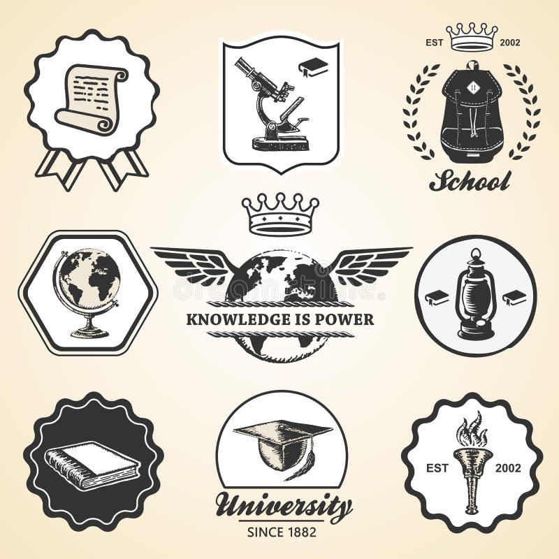 Education school academy university vintage symbol. Emblem label collection set stock illustration