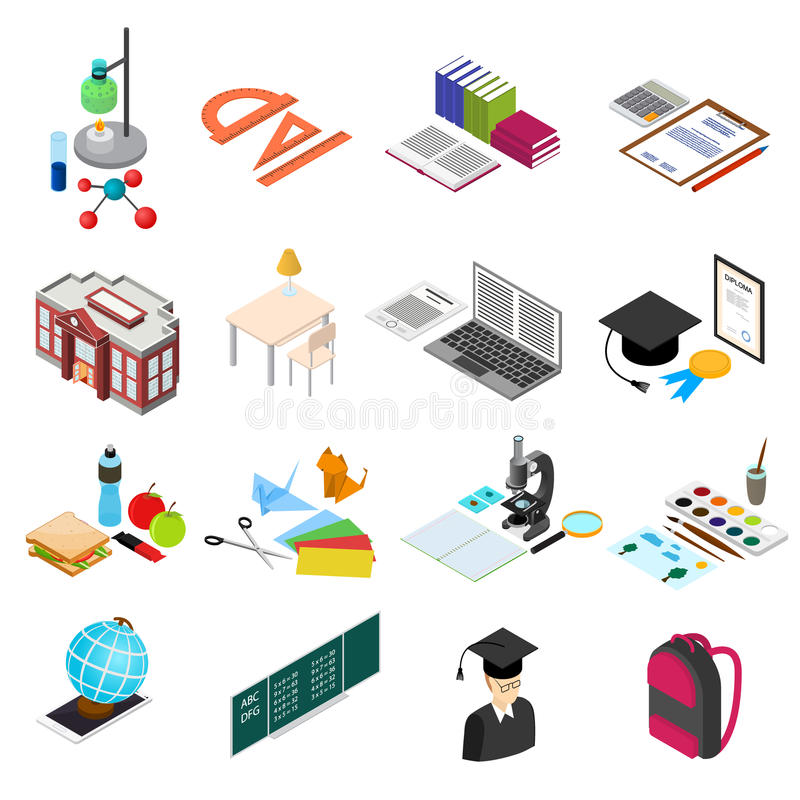 Education School Color Icons Set Isometric View. Vector vector illustration