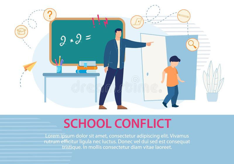 Education School Conflict Situation Text Poster. Education and School Conflict. Disruptive Classroom Situation between Teacher and Schoolboy. Poster. Negative vector illustration