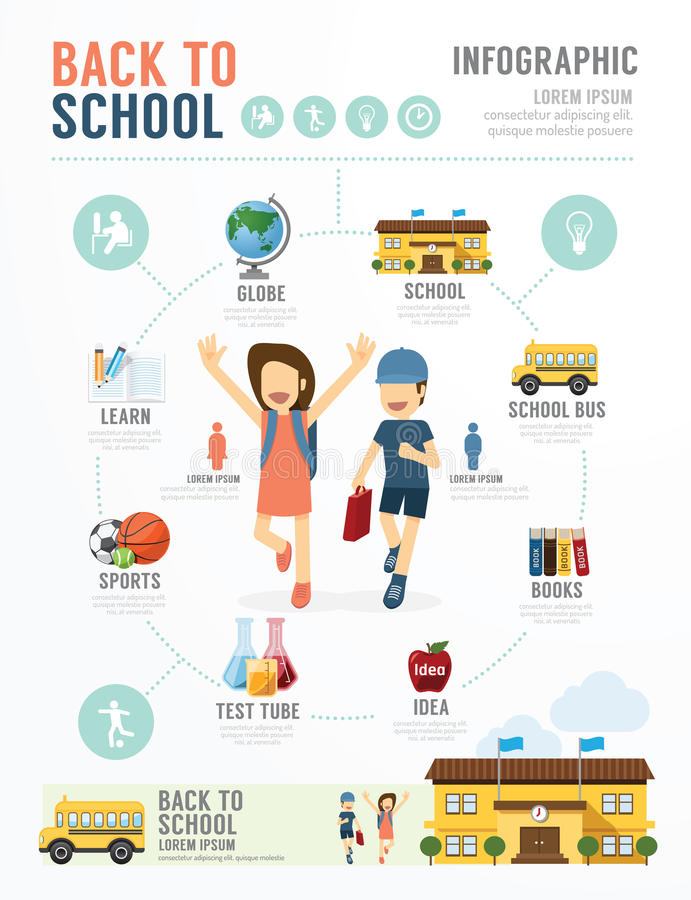Education School Template Design Infographic . concept vector. royalty free illustration