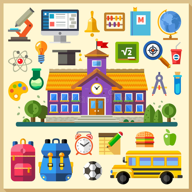 Education. School. University. Vector flat icon set and illustrations vector illustration