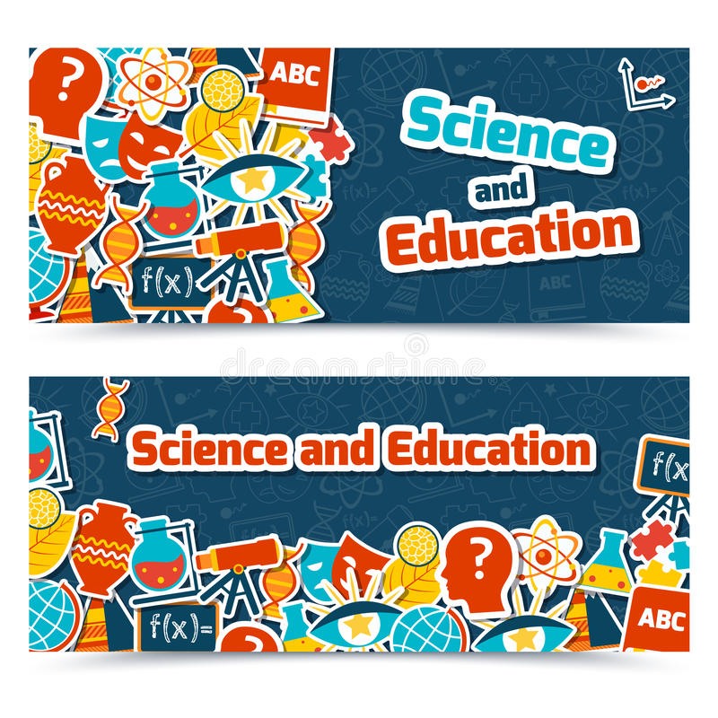 Education science banners vector illustration