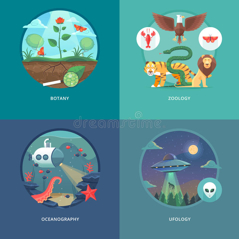Education and science concept illustrations. Botany, zoology, oceanography and ufology . Science of life and origin of species. Flat vector design banner stock illustration