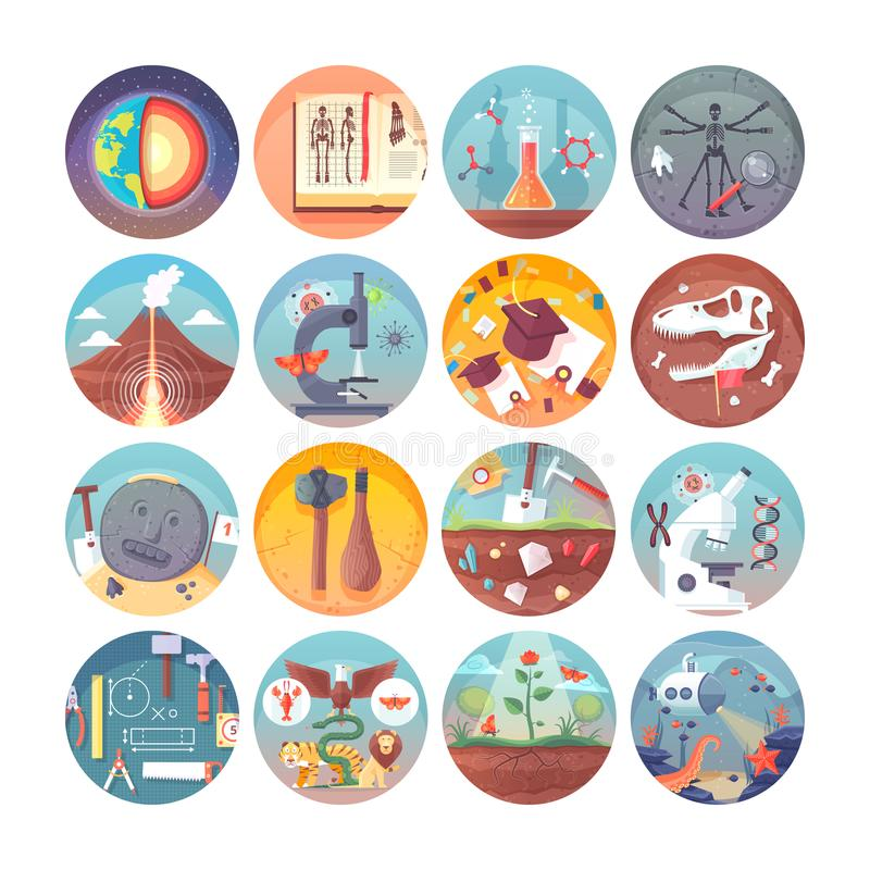 Education and science flat circle icons set. Subjects and scientific disciplines. Vector icon collection. Education and science flat circle icons set. Subjects vector illustration