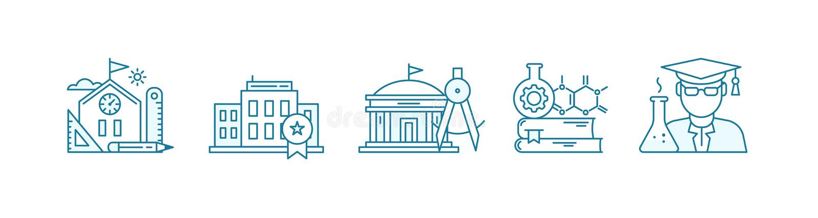 Education science icon set. School, college and university. Bachelor, student. Stages of education. Outline contour blue. Line flat vector vector illustration